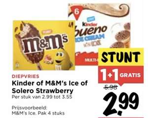 Kinder | M&M's ICE | Solero Strawberry ijs 1+1 GRATIS €2,99/3,55 ipv €5,98/€7,10 @ Vomar