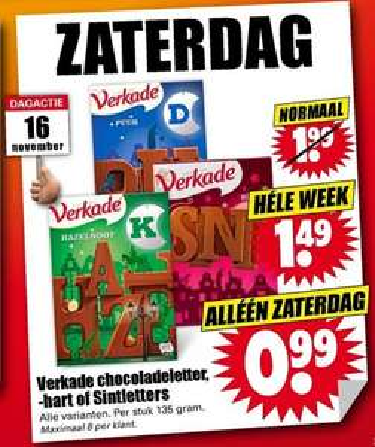 50% korting op Verkade Chocoladeletter, -hart of Sintletters, 135 gr @ Dirk