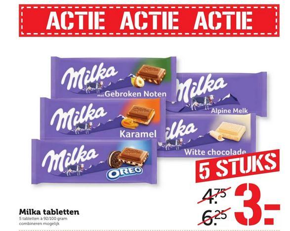 5 Milka Tabletten voor € 3,- @ Coop
