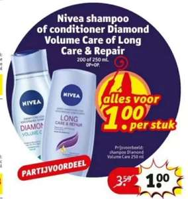 Nivea shampoo of conditioner Diamond Volume Care of Long Care & Repair voor €1 (i.p.v. €3,59) @Kruidvat