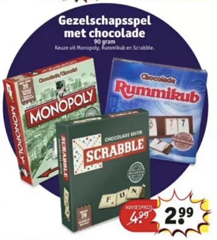 Monopoly | Rummikub | Scrabble chocolade editie €2,99 @ Kruidvat