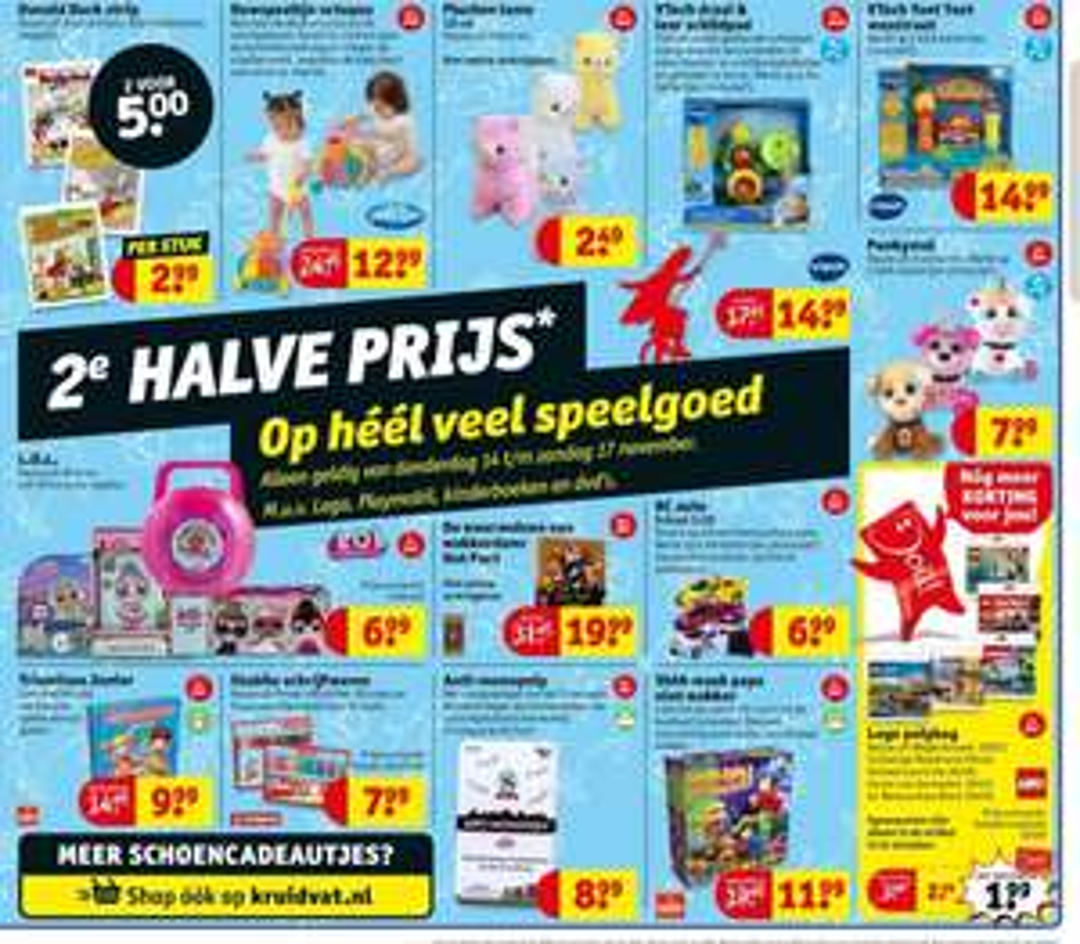 @Kruidvat. Heel véél speelgoed, 2e halve prijs. Ook LEGO & Playmobil met klantenkaart