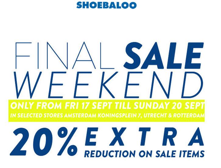 20% extra korting op de Sale @ Shoebaloo winkels