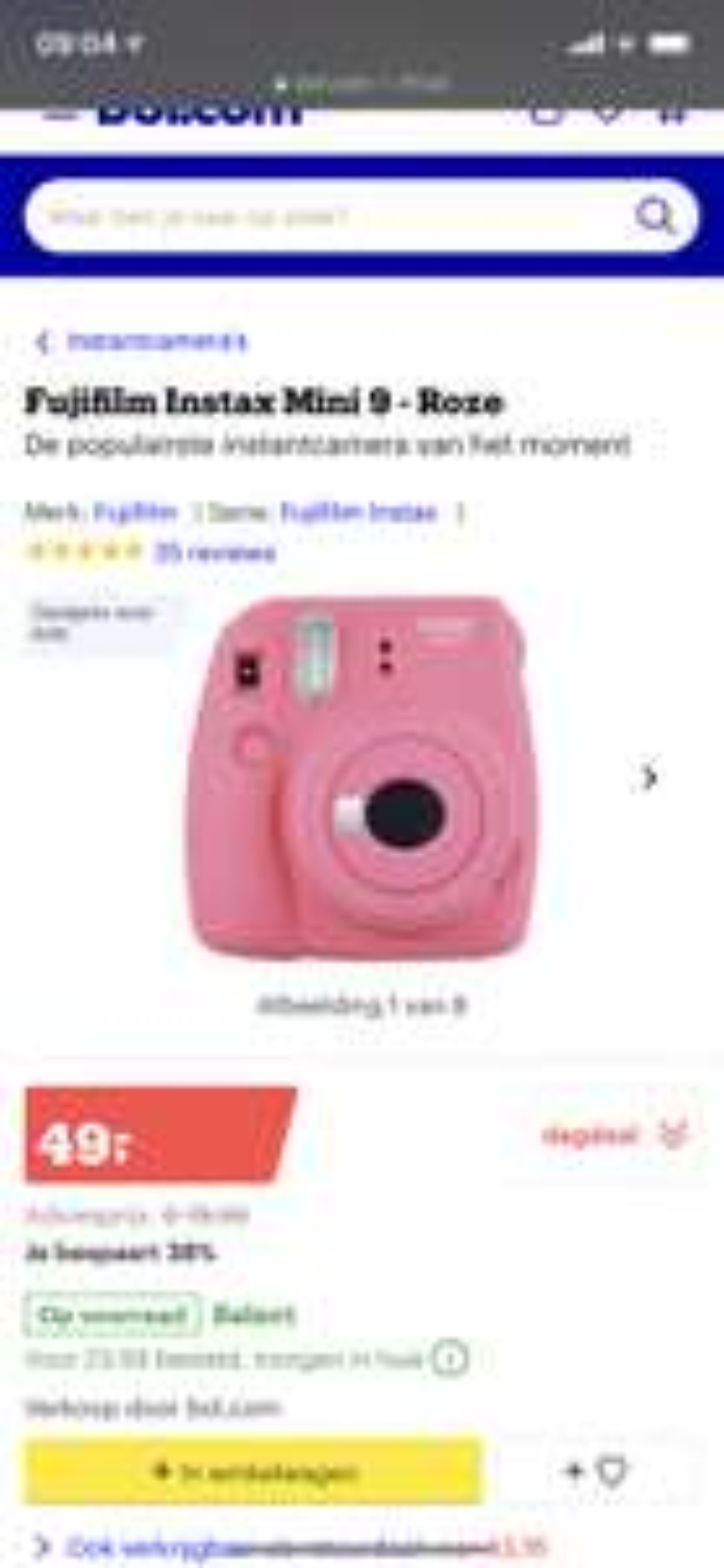 Fujifilm Instax Mini 9 voor €49