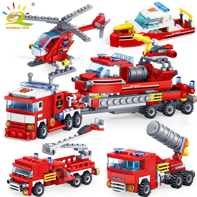 Brandweer 4 in 1 (vrachtwagen, auto, boot, heli) bouwstenen voor €7,77 [Aliexpress Deals]