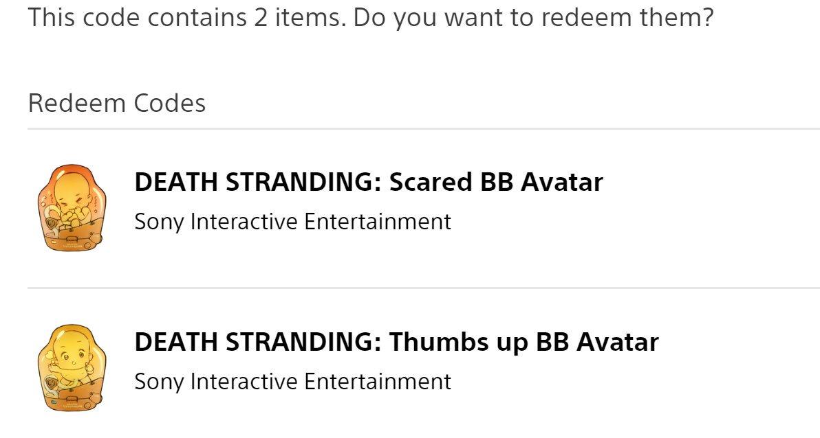 Gratis Death Stranding BB avatars @ PSN US