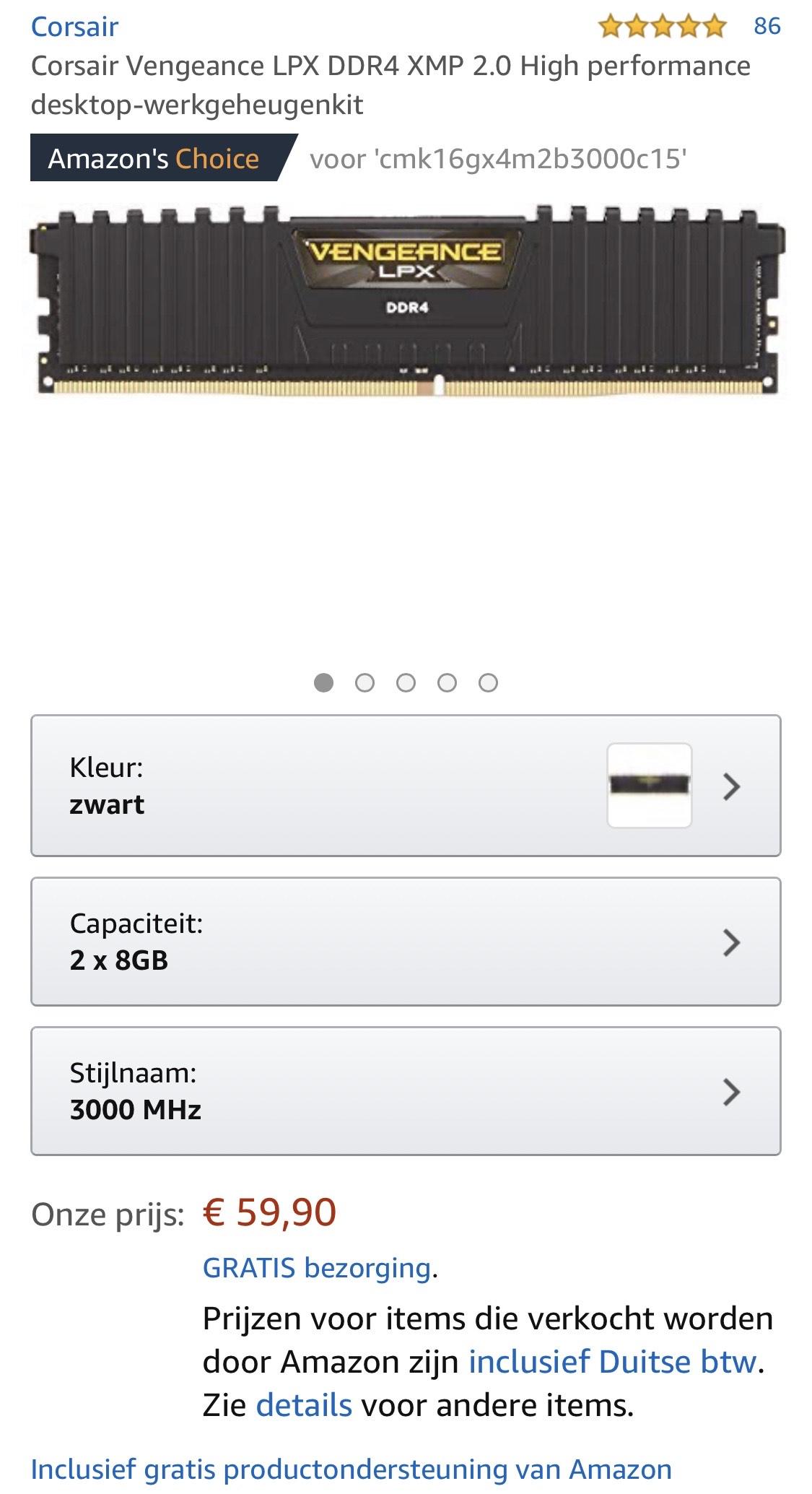16GB Corsair cmk16gx4m2b3000c15