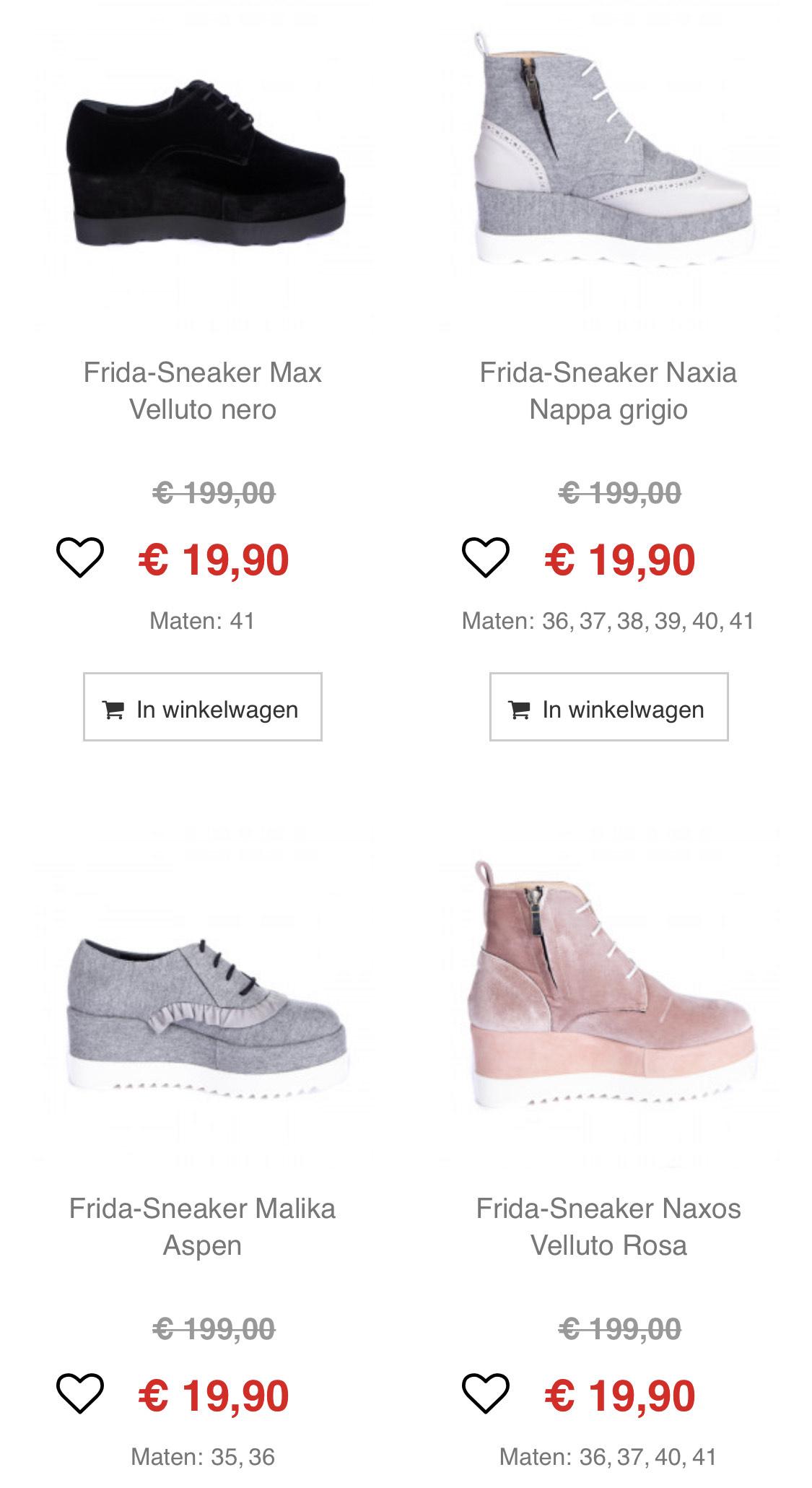 Frida dames schoenen 90% korting + 11.11 extra 22% korting