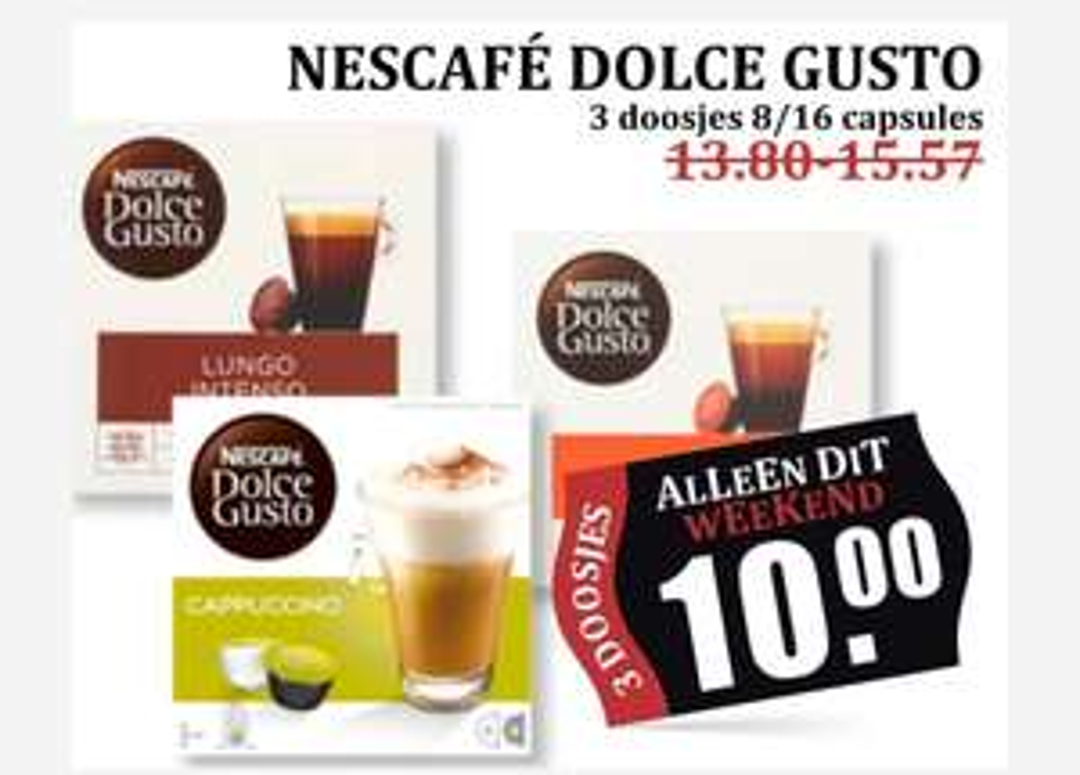 3 Dolce Gusto 8/16 capsules €10 @ MCD