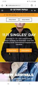 22% extra Singles day korting @Gstar outlet