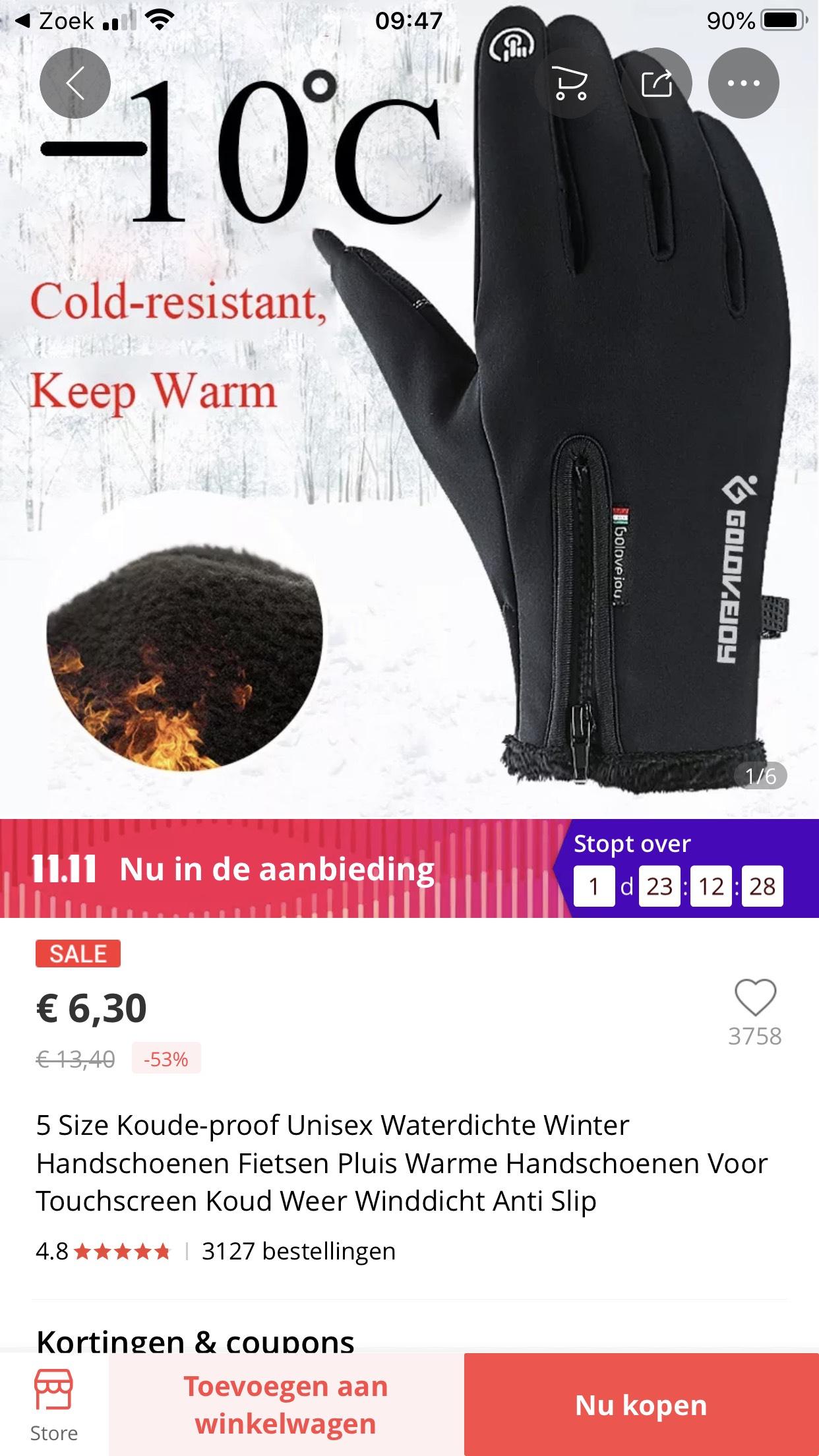 -10 handschoenen Aliexpress met hele goeie reviews, helft van prijs