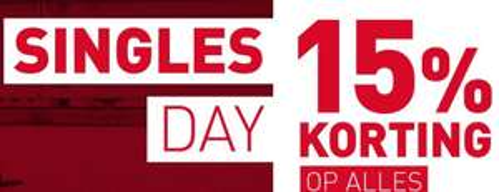 Singles Day: 15% korting op alles @ Perrysport