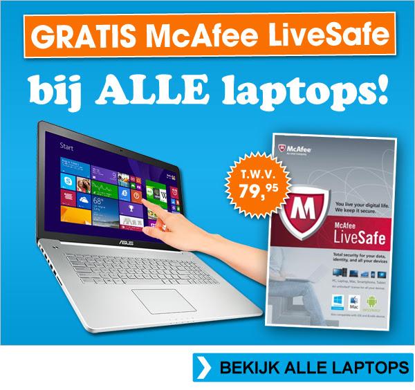 Gratis McAfee LiveSafe t.w.v. € 79,95 bij alle laptops @ Bobshop