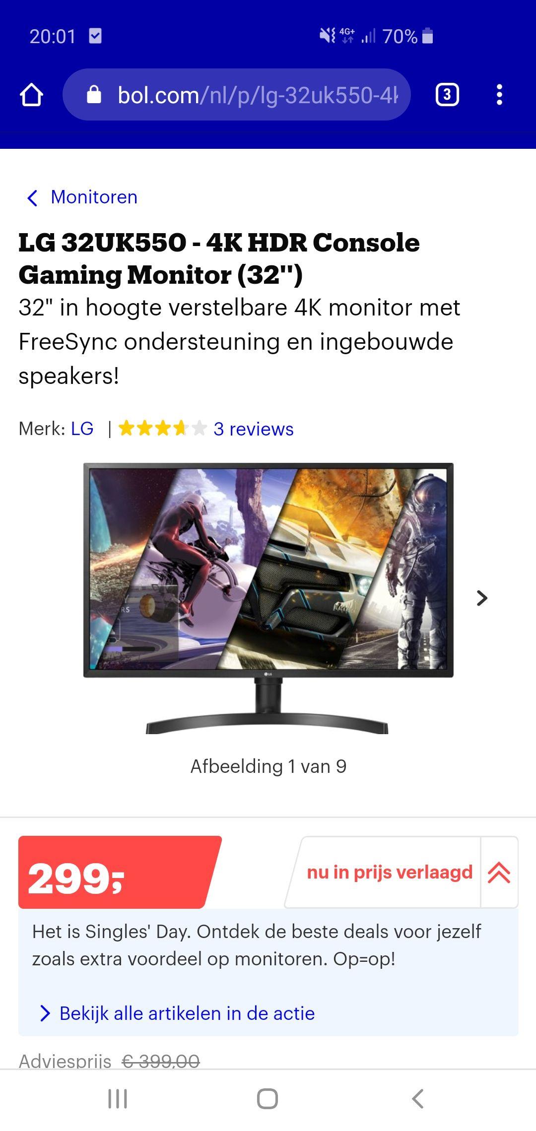"Singles day - 32"" 4k monitor van LG"