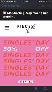 Pieces single day 50% off selected items