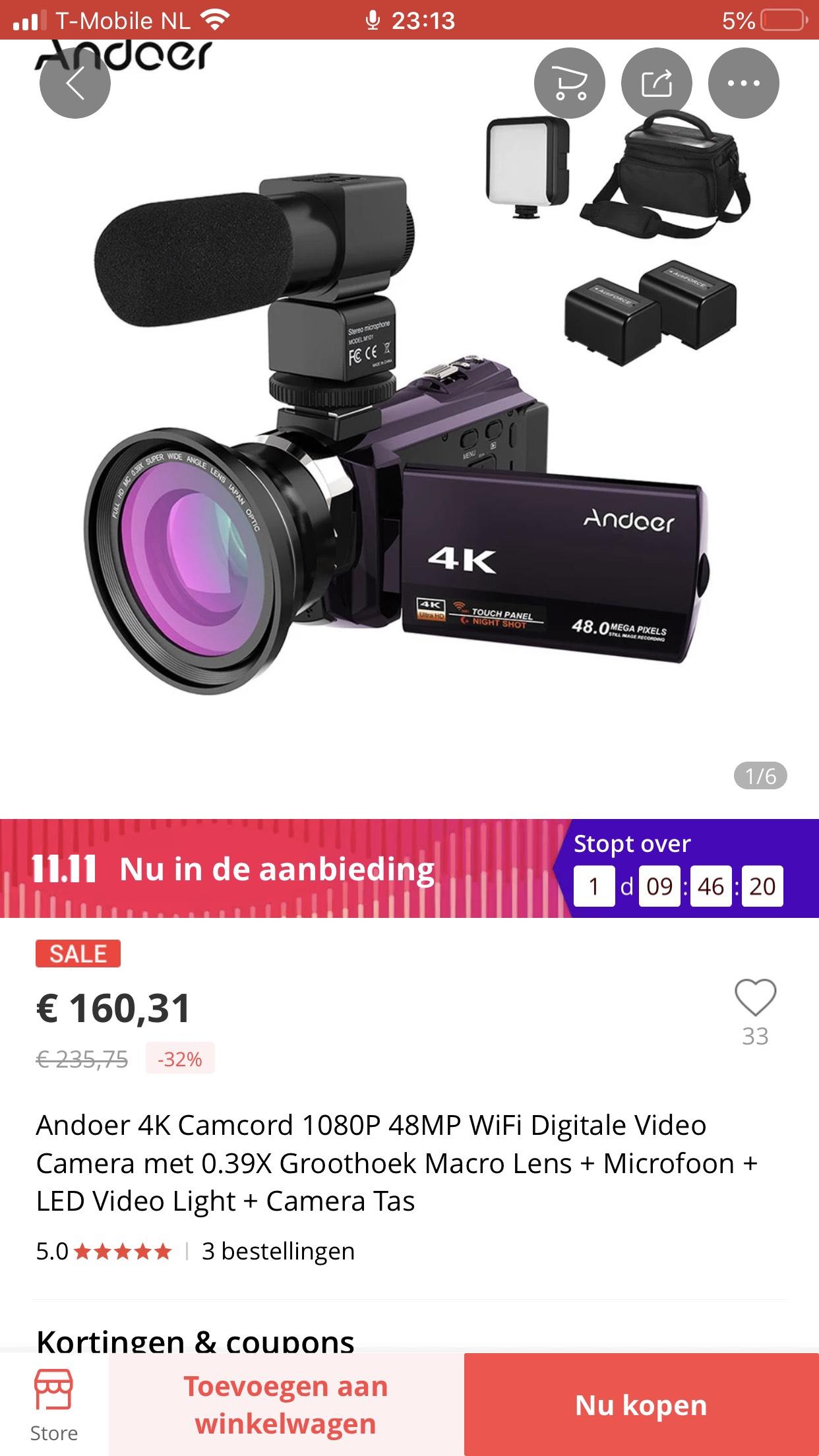 Andoer 4K 48MP camera met accessoires