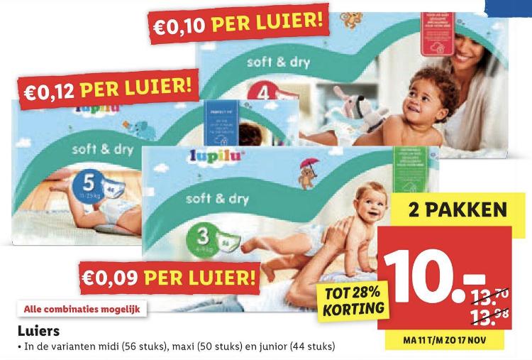 LIDL luiers mt 3-4-5 2 pakken voor €10 (€0,09-€0,10-€0,12 per luier)