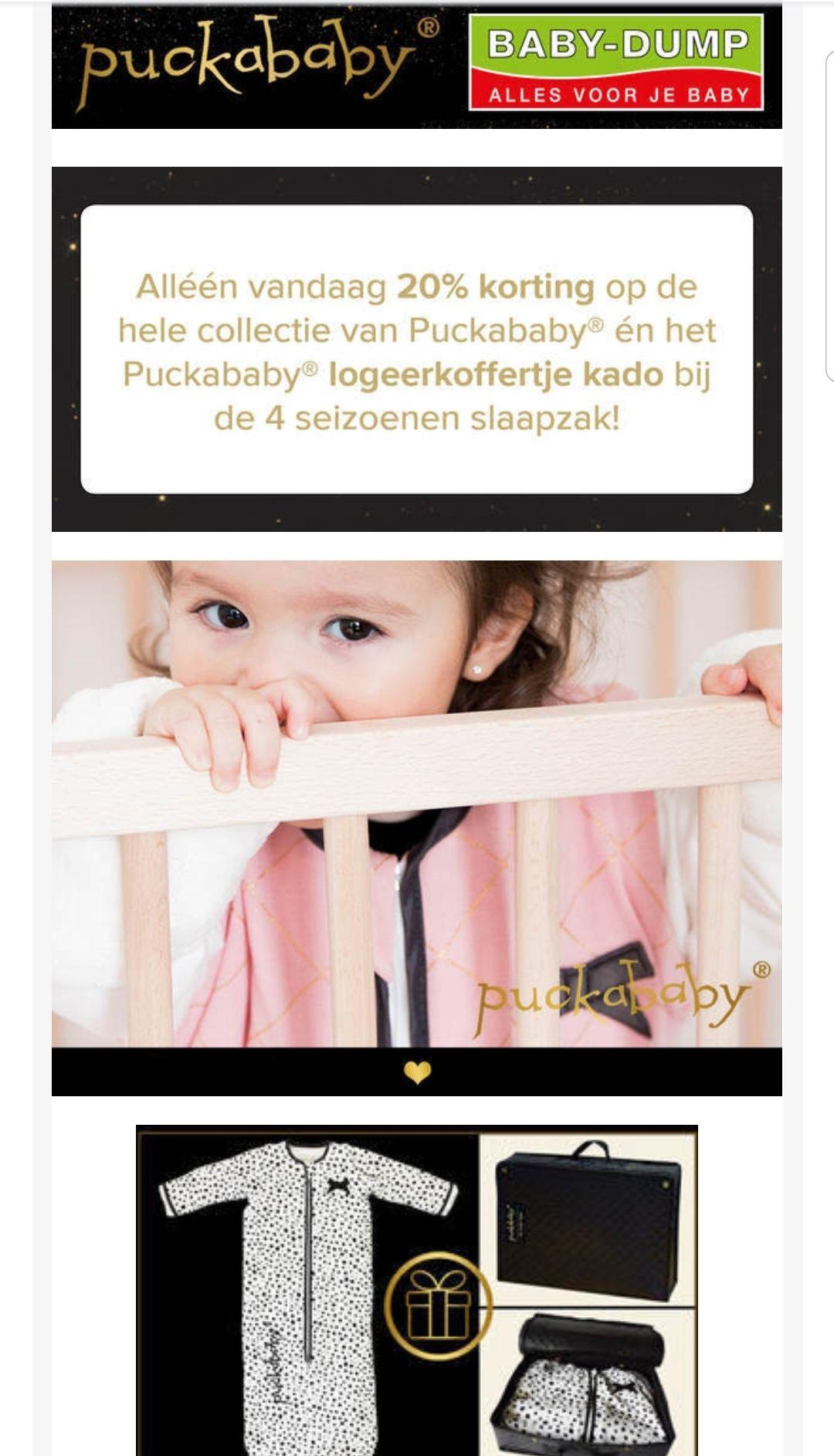 Alleen vandaag 20% korting op de gehele collectie van Puckababy en gratis logeerkoffer kado bij BabyDump.