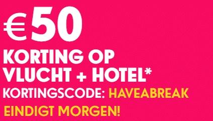 Kortingscode voor €50 korting @ Ebookers