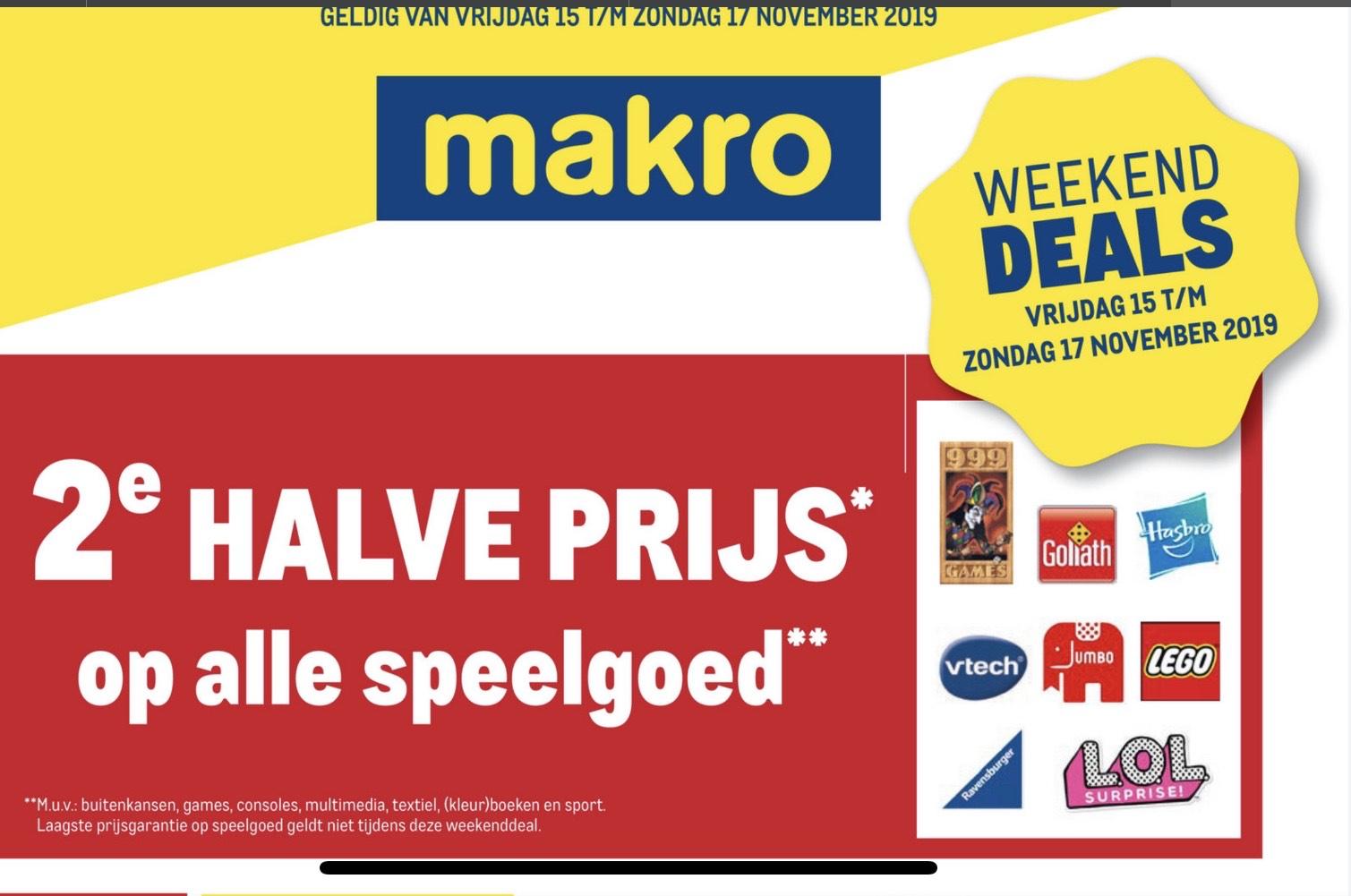 2e halve prijs op speelgoed bij Makro aankomend weekend.