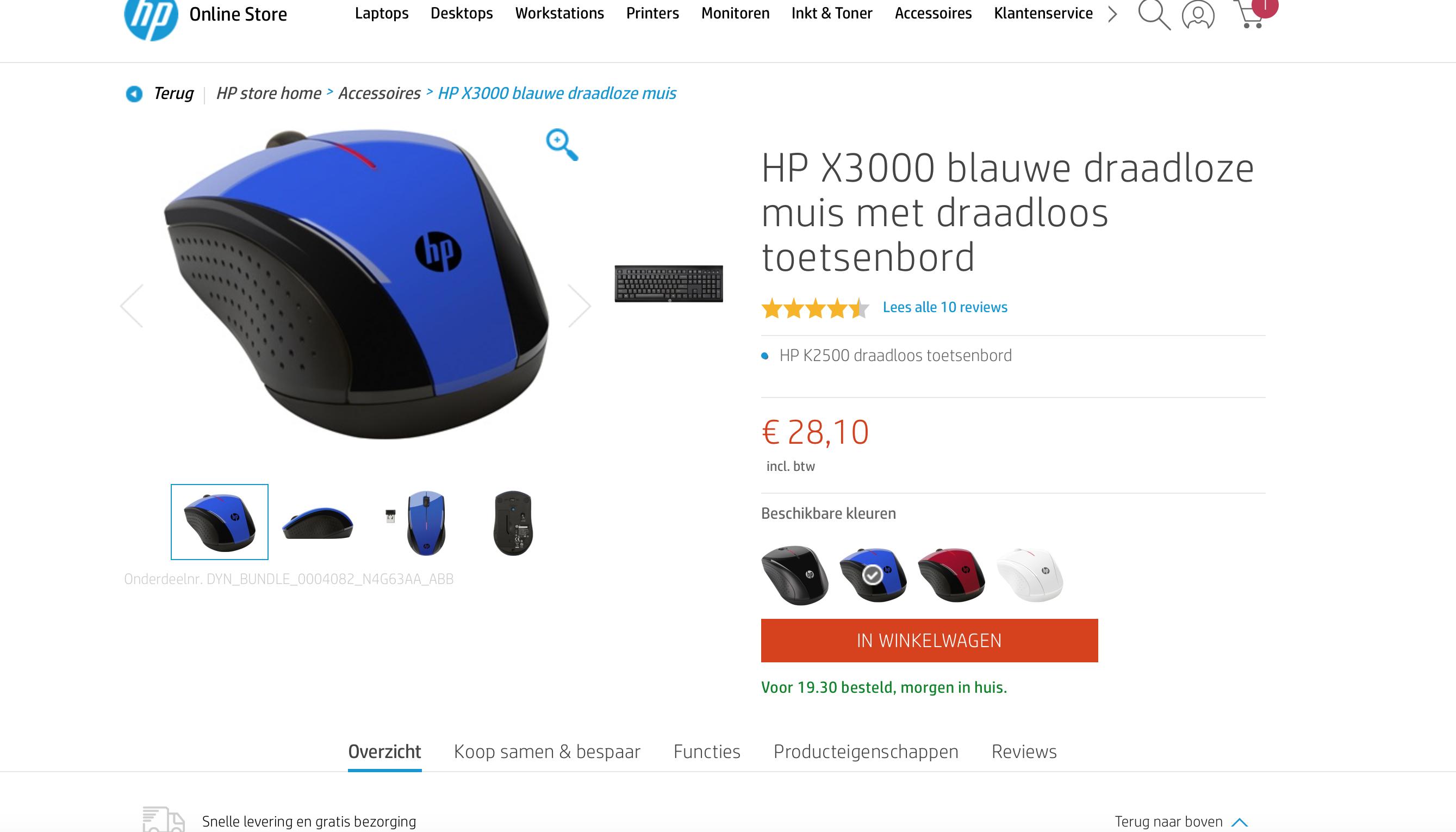HP X3000 blauwe draadloze muis met draadloos toetsenbord @ HP Store
