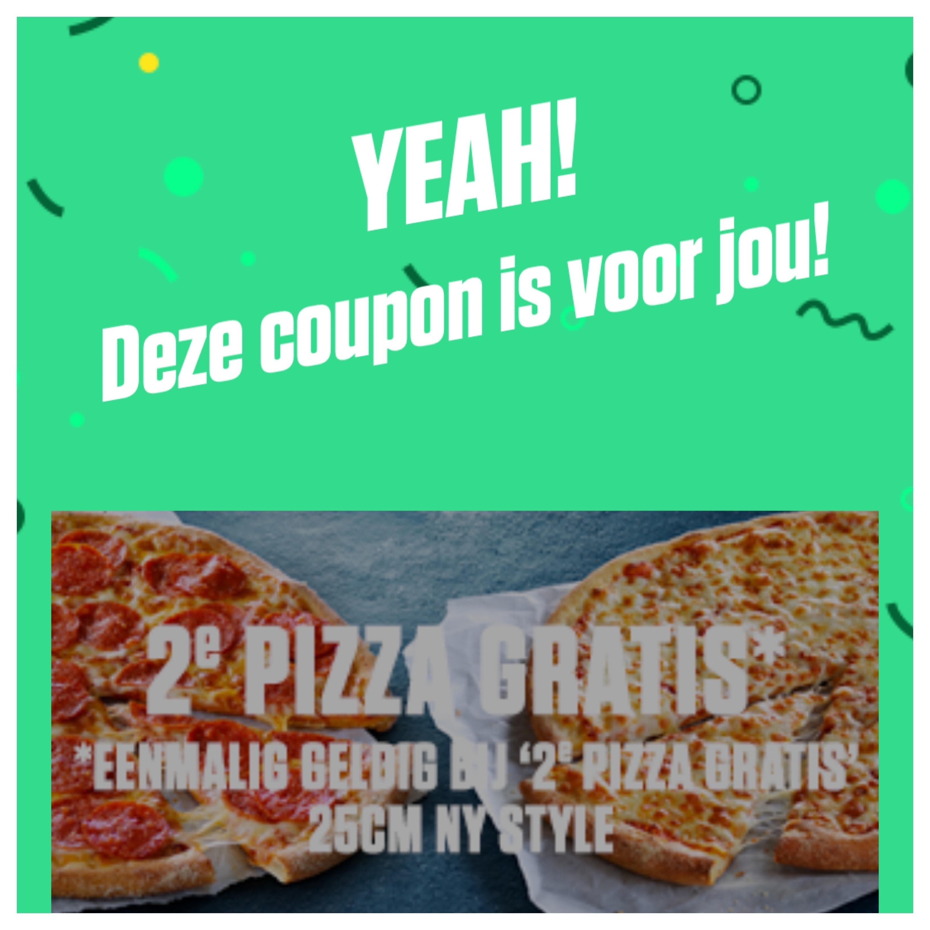 Code voor 2e pizza gratis bij downloaden vernieuwde app!