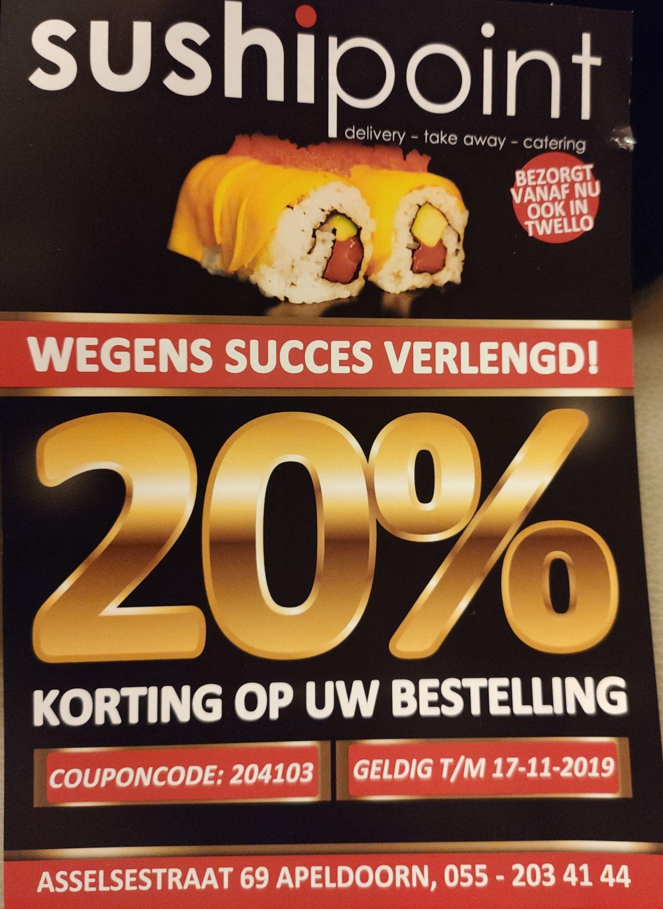20% korting op je bestelling @Sushipoint Apeldoorn