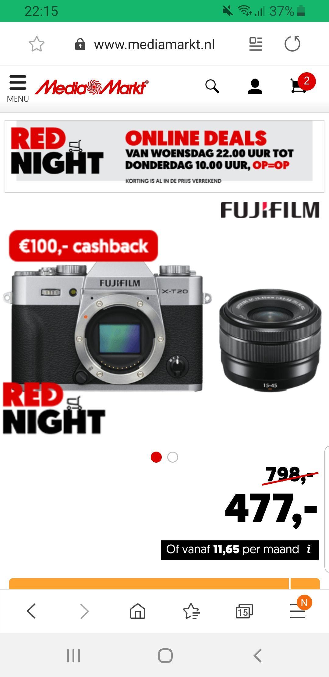 FUJIFILM X-T20 Zilver + XC15-45mm Kit EE @ Mediamarkt