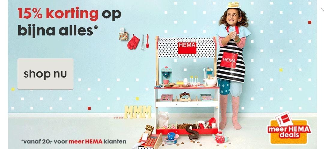 15% korting vanaf 20 euro voor meer Hema klanten @ Hema