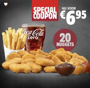 20 nuggets, 1 friet en 1 drinken 6,95 bij Burger King