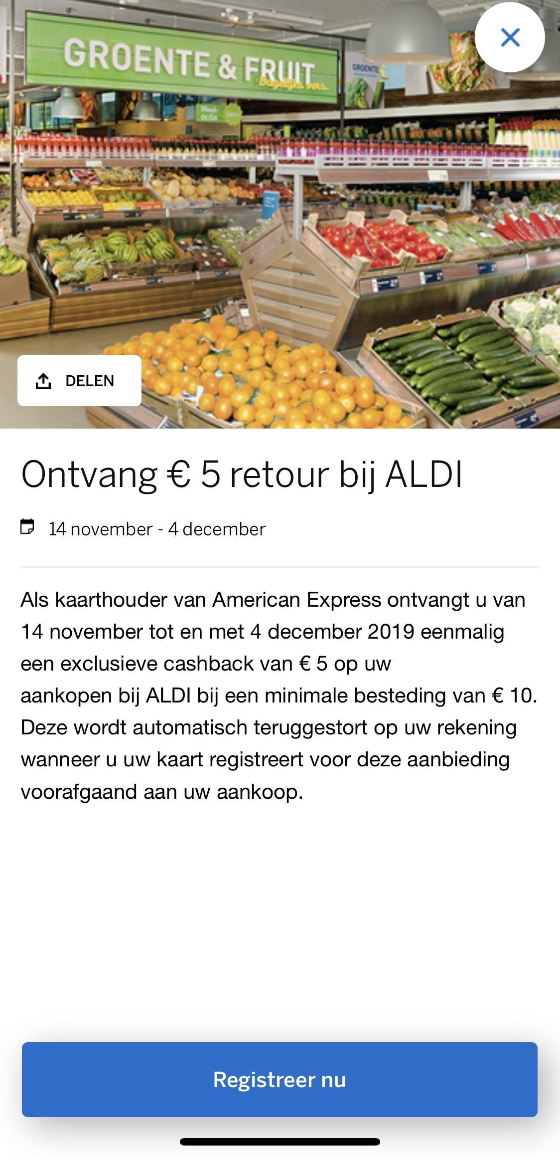 €5 korting bij Aldi American Express