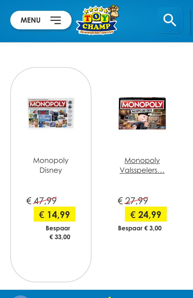 Veel Monpoly flink afgeprijsd, Disney, Wereldedite etc