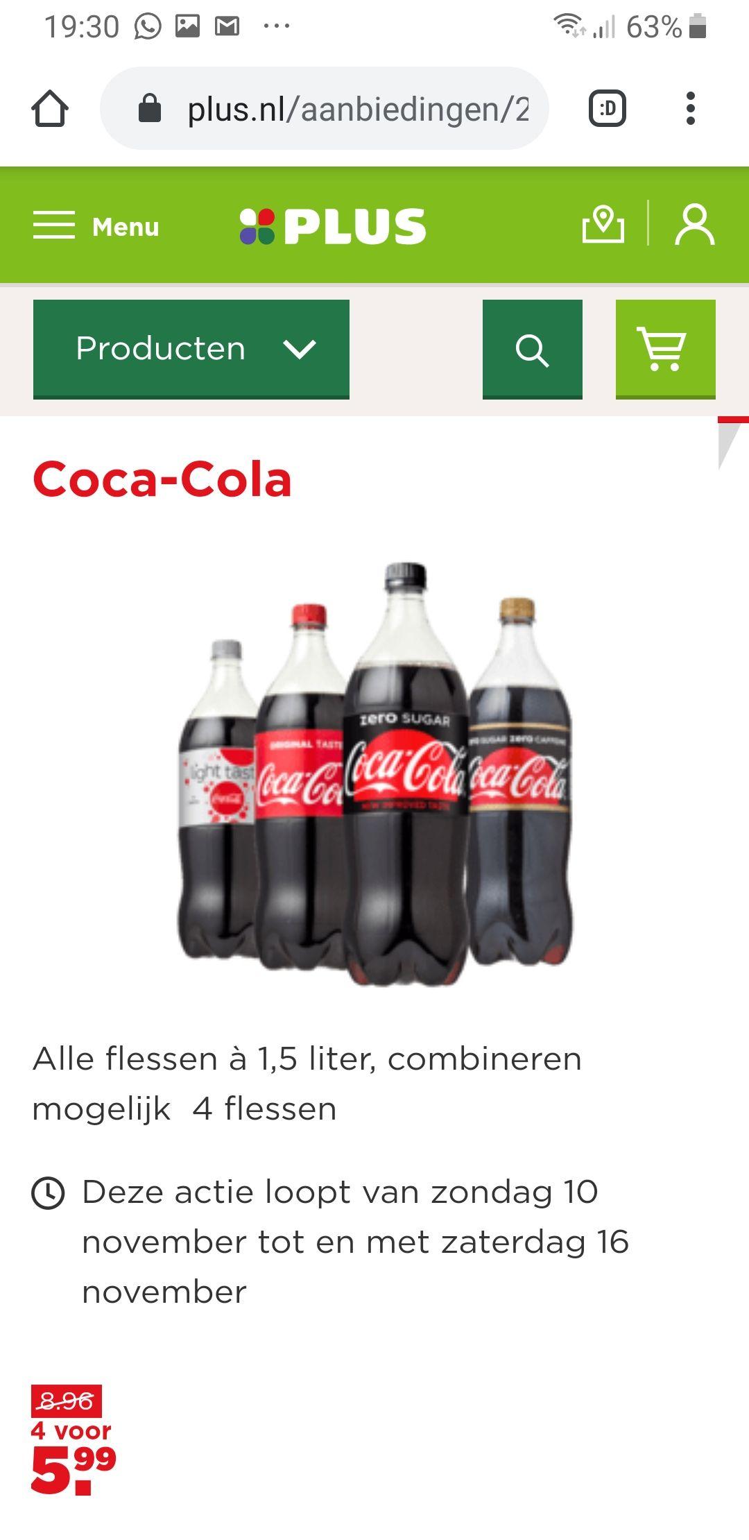 Coca-Cola 6 liter voor €5,99 ipv €8,96