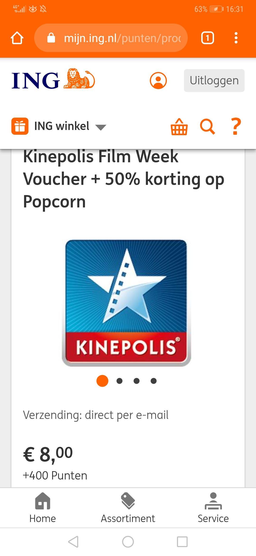 kinepolis ticket + popcorn met ING rentepunten