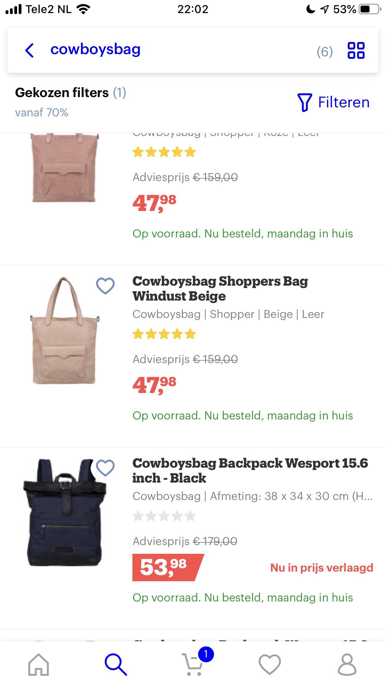 70% op Cowboysbag verschillende tassen (man & vrouw) @ bol.com