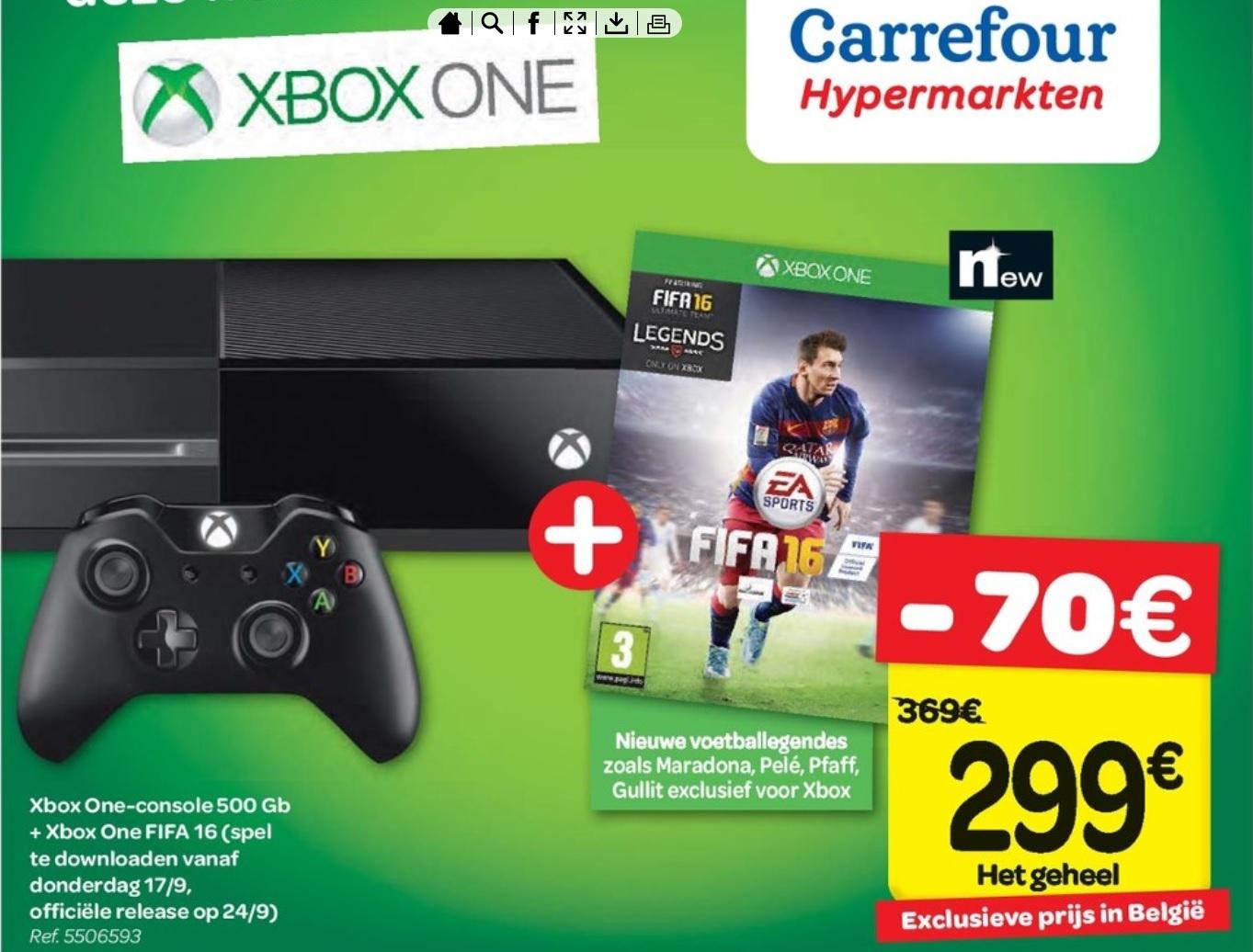 Xbox One 500GB + FIFA 16 Bundel voor €299 @ Carrefour (Belgie)