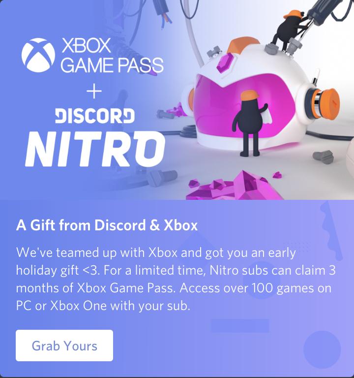 Discord Nitro + 3 maanden gratis Xbox Game Pass