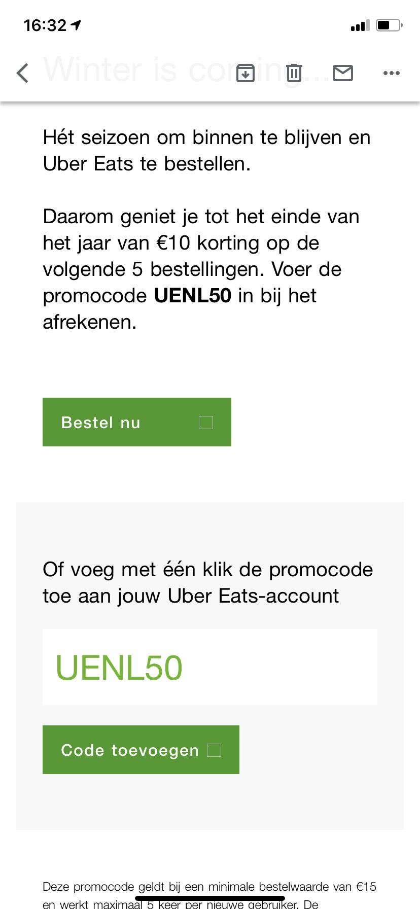Uber eats 5x €10,- korting