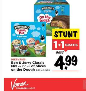 Ben & Jerry's classic mix of Slices on the Dough 1+1 @Vomar