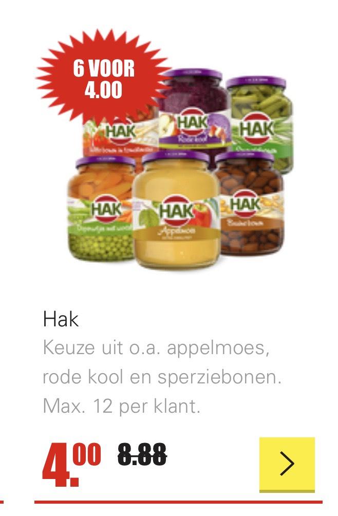 Hak 6 potten voor €4 / op donderdag €3