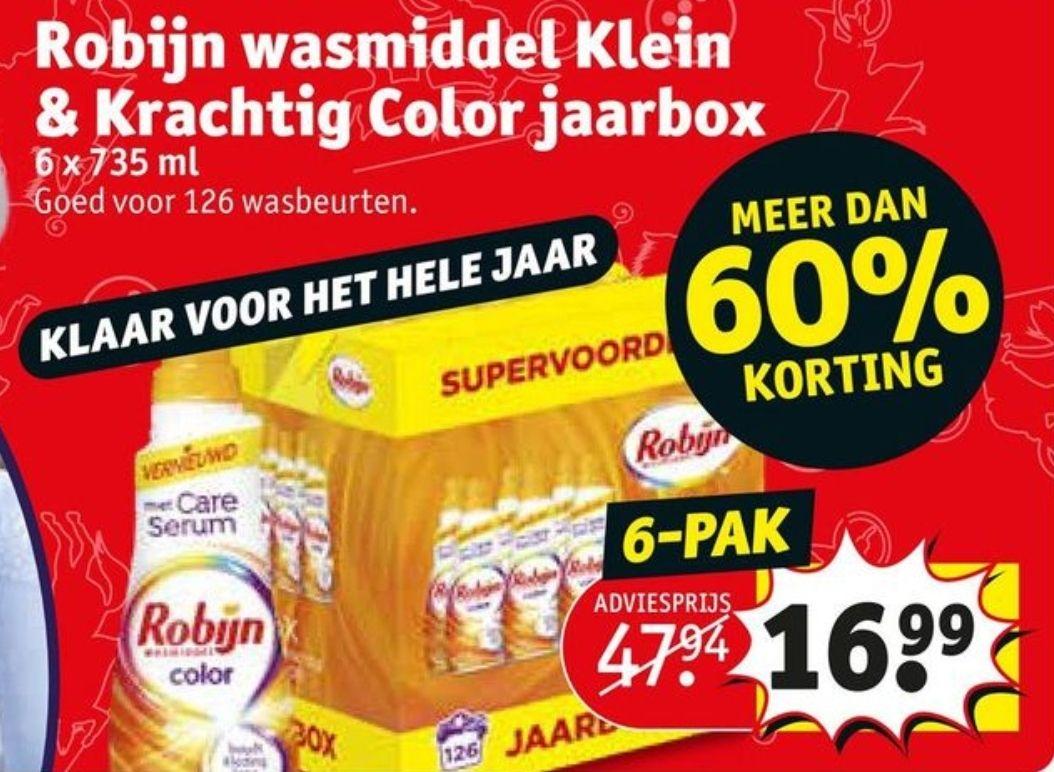 Robijn wasmiddel Klein&Krachtig Color jaarbox (6 x 735 ml) €16,99 @ Kruidvat