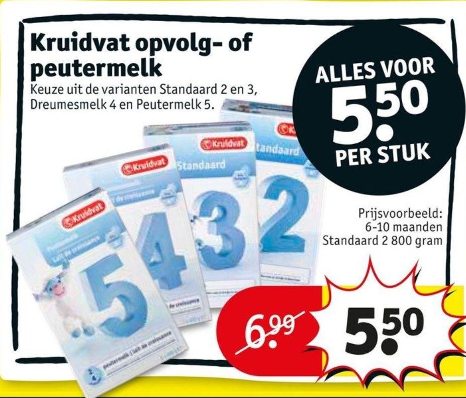 Kruidvat opvolgmelk Standaard nr. 2&3, dreumesmelk nr. 4 en peutermelk nr. 5 €5,50 @ Kruidvqt