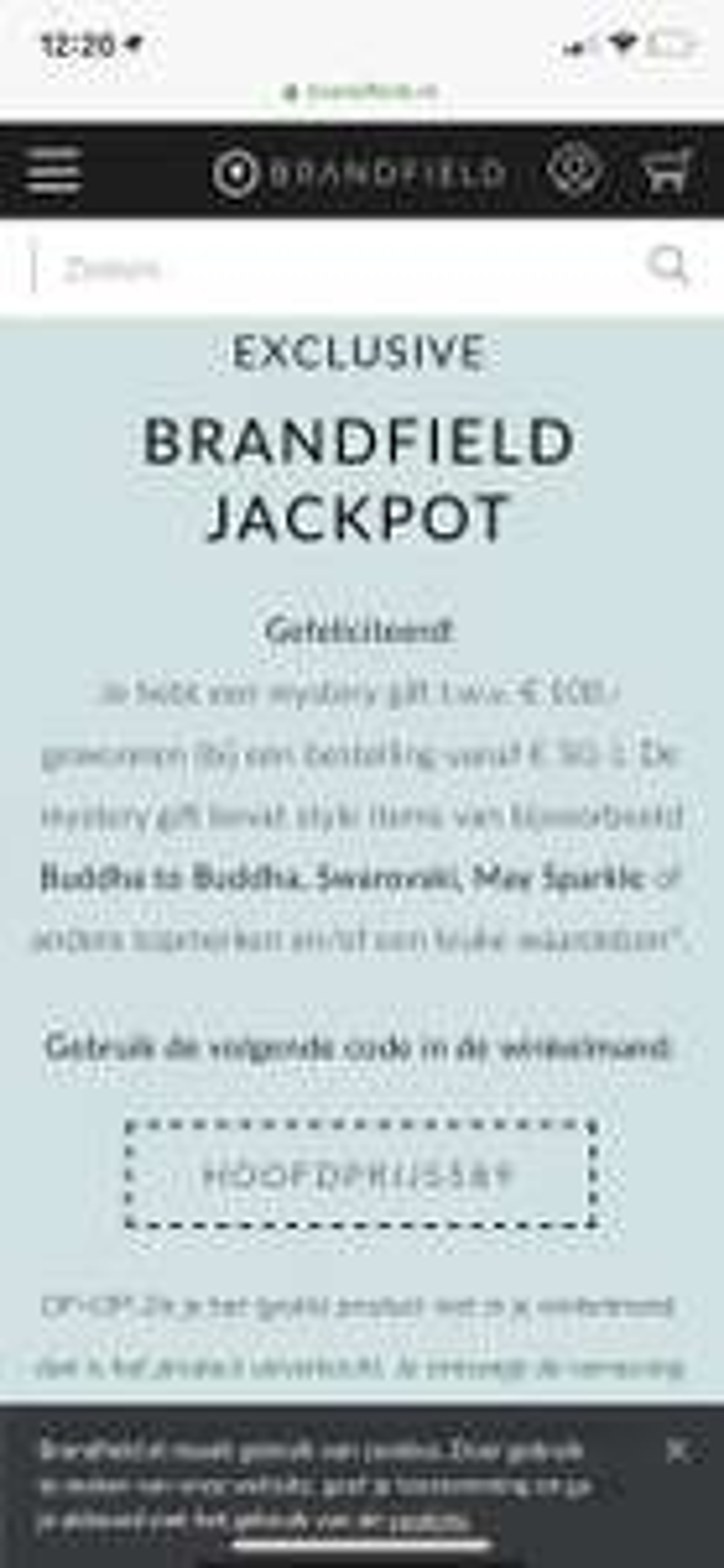 Giftbox twv 100 euro bij besteding van 50 euro BRANDFIELD