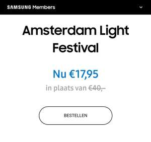 Amsterdam Light Festival met 55% korting (via Samsung members)