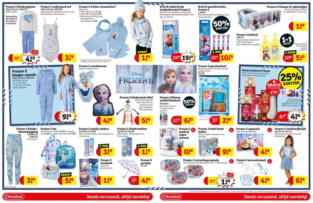 @Kruidvat 3 blz vol Frozen 2 artikelen (+20% extra korting en GRATIS Frozen kussen bij Glade Luchtverfrisser)