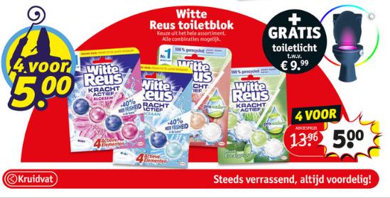 @Kruidvat GRATIS LED toiletlicht t.w.v. 9,99 eur bij 4 witte reus toiletblokken (4 blokken voor 5 euro)