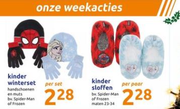 @Action Weekactie Frozen en Spiderman handschoenen, muts en pantoffels 2,28 eur per paar