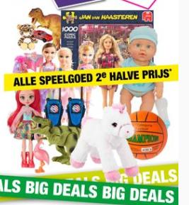 @Bigbazar Speelgoed 2e halve prijs bv Hotwheels vanaf 1,99 of Enchantimals 22% korting + de 2e halve prijs korting er nog vanaf