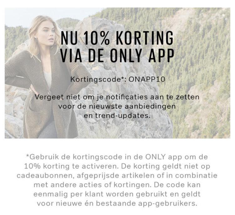 Kledingwinkel Only 10% korting in de app