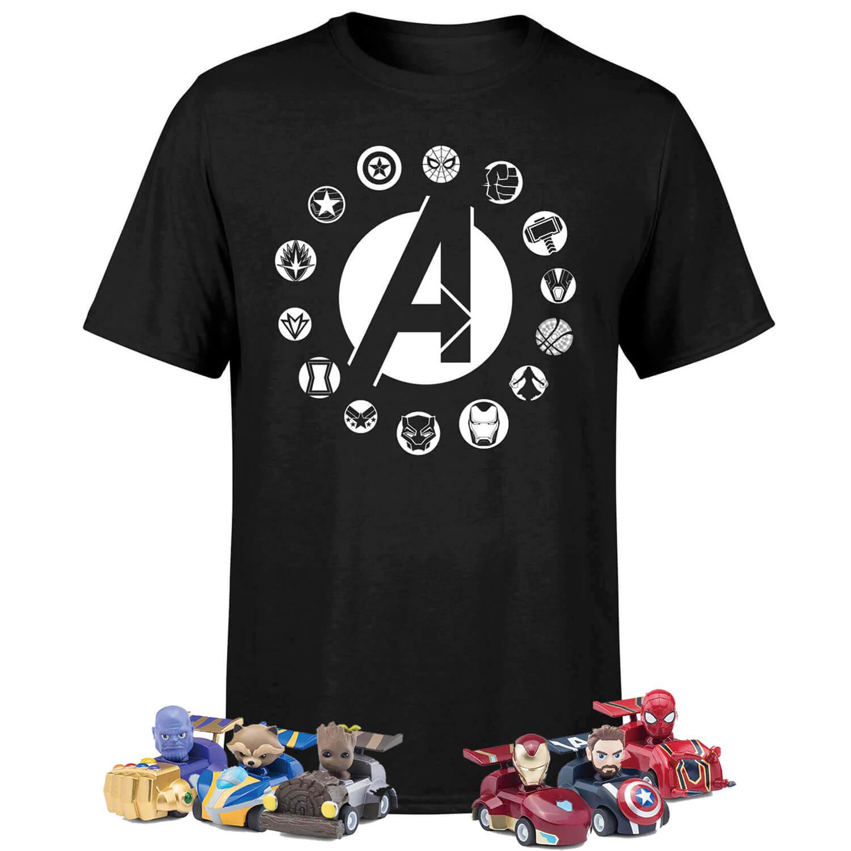 Marvel Avengers t-shirt + 6 pennen met terugtrekauto €16,99 @ Zavvi